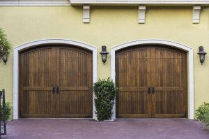 Two car wooden arch garage