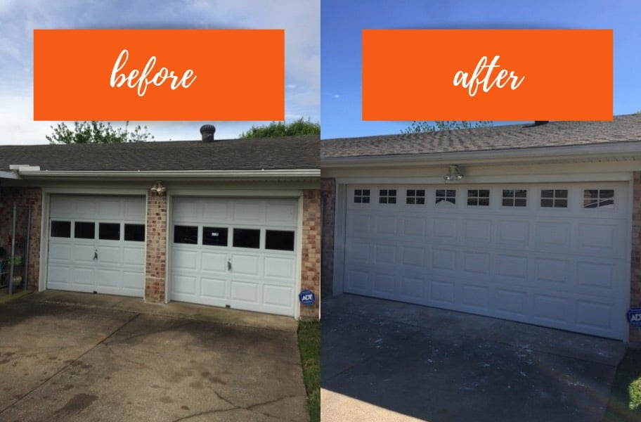before and after garage doors refinishing