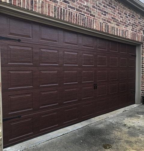 garage door with cherry wood finish