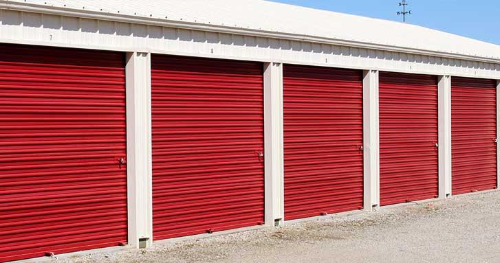 Red commercial overhead doors