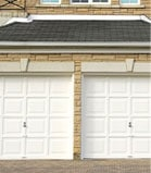 Front view of two garage doors