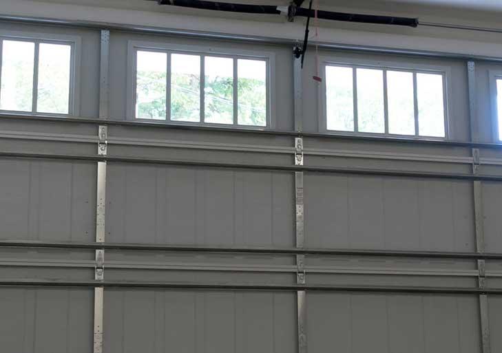 Interior view of a garage door