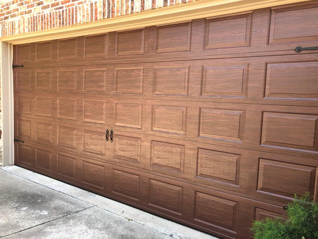 steel door, wood finish